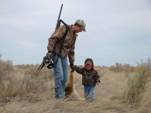 Father & Child w dead animal shot for fur